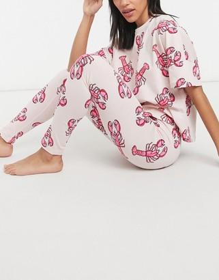 ASOS DESIGN lobster print tee & legging pyjama set in pink & red