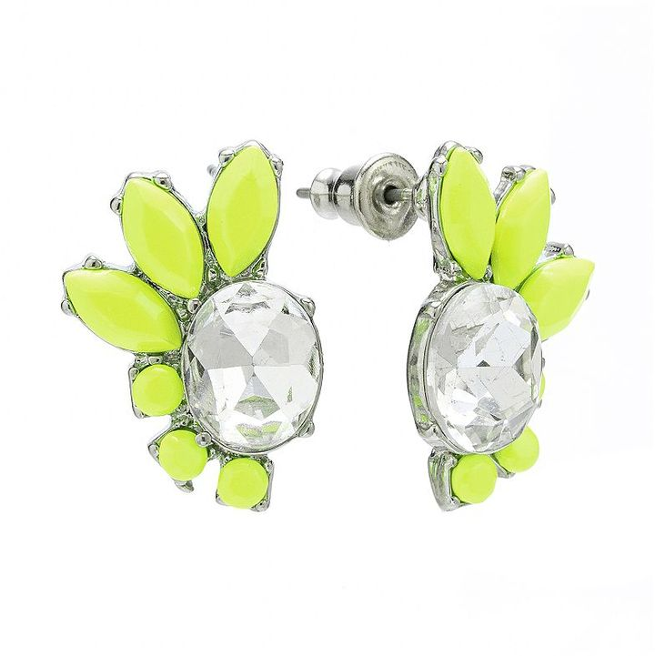 Apt. 9 silver tone simulated crystal button stud earrings