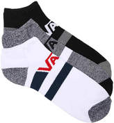 Vans Men's Stripe Men's's No Show Socks - 3 Pack -White/Grey/Black