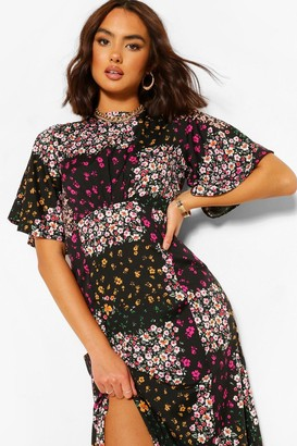 boohoo Mixed Floral Print Midi Dress
