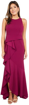 Adrianna Papell Sleeveless Long Knit Crepe Gown with Cascade Skirt Detail (Burgundy Glow) Women's Dress