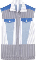 Dion Lee Paneled striped poplin and denim top