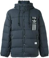 adidas pinstripe hooded down jacket - men - Polyester/Viscose/Feather/Duck Feathers - XL