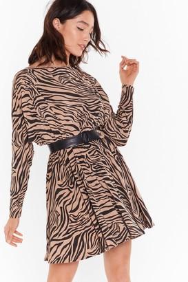 Nasty Gal Womens Herd There's a Party Zebra Mini Dress - Beige
