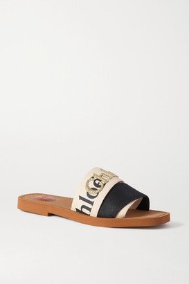 Chloé Woody Logo-embroidered Canvas Slides - Cream