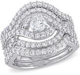 Ice 1 8/9 CT TW Diamond 14K White Gold Cross Over Multi-Row Bridal Set