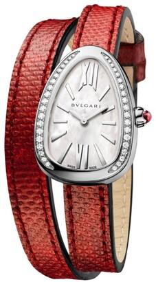 Bvlgari Stainless Steel and Diamond Serpenti Watch 32mm