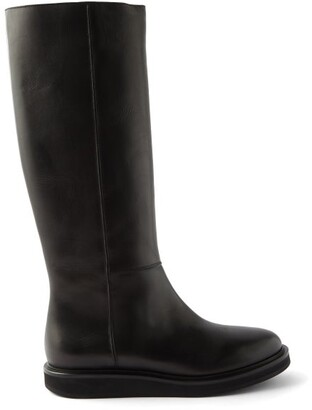 LEGRES Knee-high Leather Boots - Black