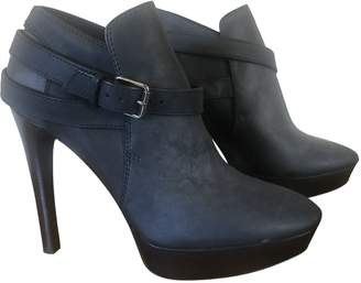 Burberry Navy Leather Ankle boots