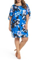Vince Camuto Plus Size Women's Print Crepe Tie Sleeve Shift Dress