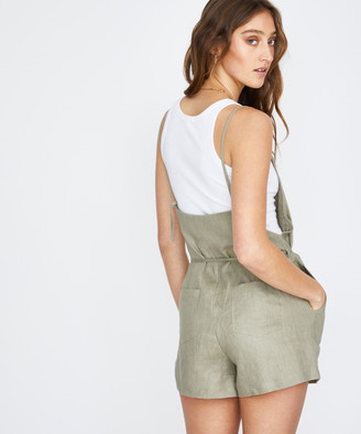Subtitled Palmy Linen Playsuit Sage Green