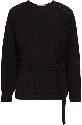 BA&SH Dunon Belted Jacquard-knit Top