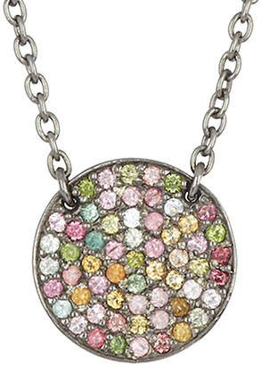 Adornia Fine Rhodium Plated Silver 1.00 Ct. Tw. Tourmaline Necklace