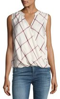 Splendid Reily Plaid Sleeveless Surplice Top