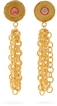 Sylvia Toledano Rhodochrosite Chain Drop Clip Earrings - Pink Gold
