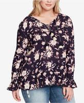 Jessica Simpson Trendy Plus Size Double-Tie Peasant Top