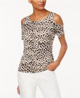 Calvin Klein Animal-Print Cold-Shoulder Top