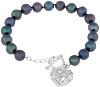 Sterling Silver Heart Toggle Bracelet