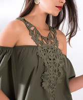 Milan Kiss Women's Casual Dresses KHAKI - Khaki Embroidered Neckline Off-Shoulder Dress - Women