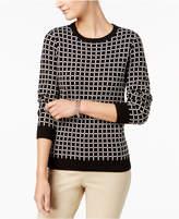 Charter Club Crew-Neck Windowpane-Print Sweater, Created for Macy's