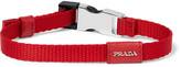 Prada Saffiano Leather-Trimmed Webbing Bracelet