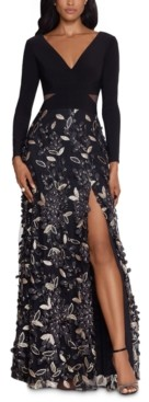 Xscape Evenings Floral-Skirt Gown