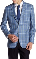 English Laundry Trim Fit Blue Windowpane Two Button Notch Lapel Suit Separates Jacket