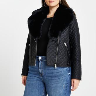 River Island Womens Plus Black quilted faux fur biker jacket