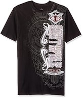 Southpole Men's Short Sleeve All Over Foil and Print Graphic Tee With Asymmetric Logo