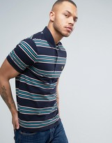Lyle & Scott Stripe Pique Polo Regular Fit Eagle Logo in Navy
