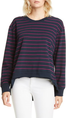 Frank And Eileen Striped Dolman High/Low Pullover