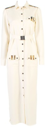 Long Sleeve Button Up Shirt Dress With Pockets White