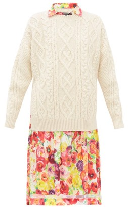 Junya Watanabe Cable-knit Wool And Floral-print Crepe Dress - Cream Multi