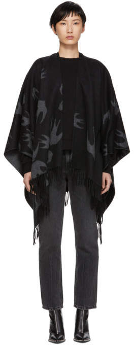 McQ Black and Grey Swallows Poncho