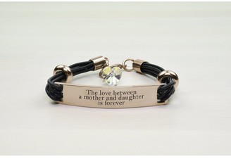 Pink Box Genuine Leather ID Bracelet with Crystals from Swarovski - LOVE BETWEEN MOTHER