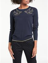 Boden Maisie Dove Embroidered Jumper, Navy/Metallic