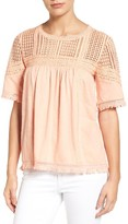 Women's Caslon Fringed Lace & Knit Tee