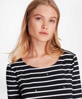 Brooks Brothers Crystal-Embellished Striped Three-Quarter-Sleeve T-Shirt