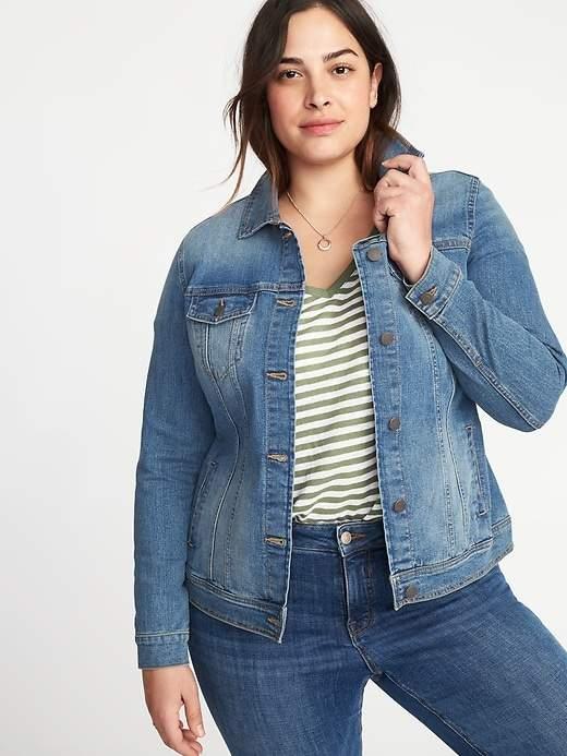 Medium-Wash Plus-Size Denim Jacket