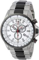 Akribos XXIV Men's AK619SSB Conqueror Swiss Chronograph White Dial Two-Tone Stainless Steel Bracelet Watch