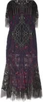 Jonathan Simkhai Embroidered Lace Midi Dress - Midnight blue