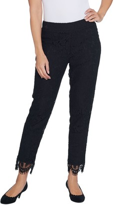 Isaac Mizrahi Live! Regular Knit Lace Pull-On Slim Leg Pants