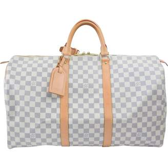 Louis Vuitton Keepall White Cloth Travel Bag