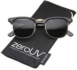 Zerouv Half Frame Semi-Rimless Horn Rimmed Sunglasses (Polarized | Black-Gold/Smoke)