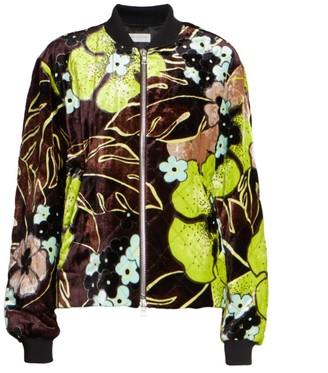 Dries Van Noten Floral Velvet Bomber Jacket