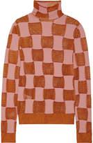 Marni Paneled Open-knit Turtleneck Sweater - Blush