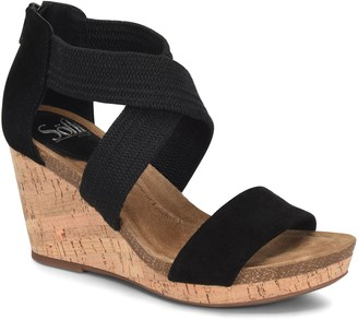 Sofft Elastic Crossband Wedge Sandals - Chalette