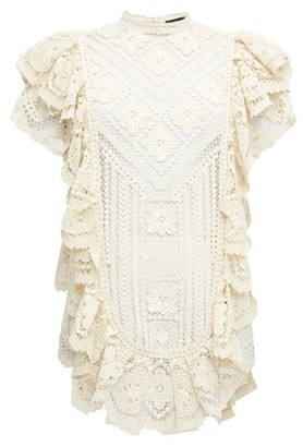 Isabel Marant Zanetti Ruffled Crocheted-lace Mini Dress - Ivory