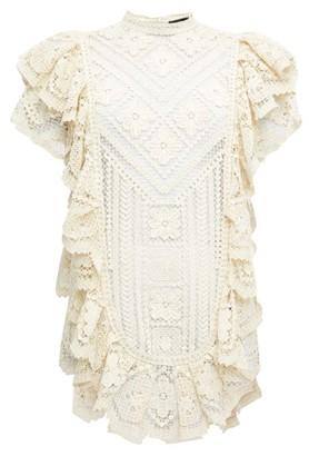 Isabel Marant Zanetti Ruffled Crocheted-lace Mini Dress - Womens - Ivory