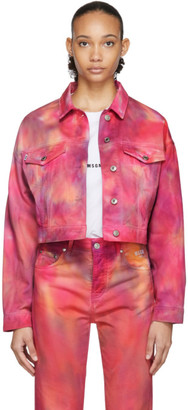 MSGM Pink Denim Tie-Dye Jacket